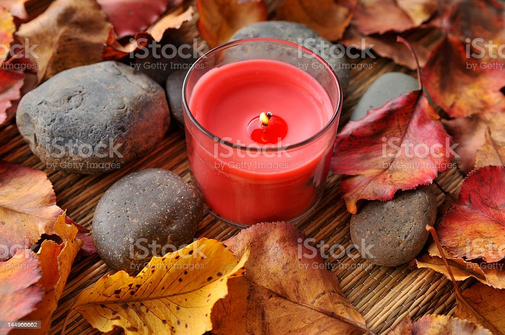 Spa Therapy - Candle and stones royalty-free stock photo