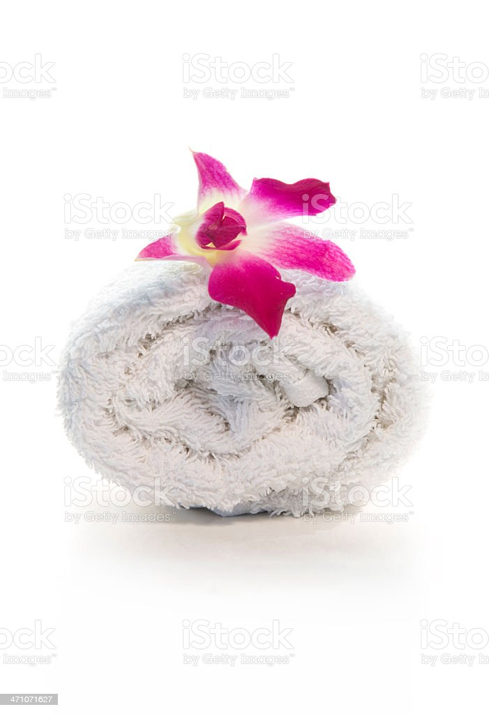 Spa Towel with flower royalty-free stock photo