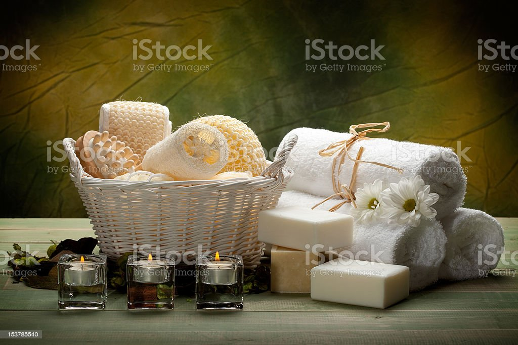 Spa - towels, soap, candles and massage tools royalty-free stock photo