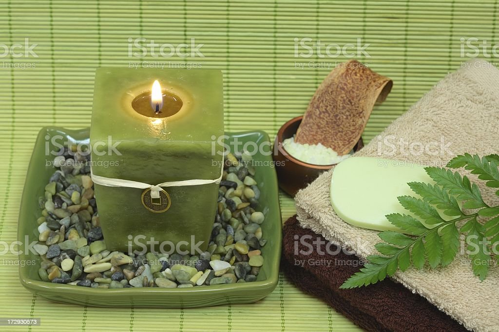 Spa Tranquility in Green royalty-free stock photo