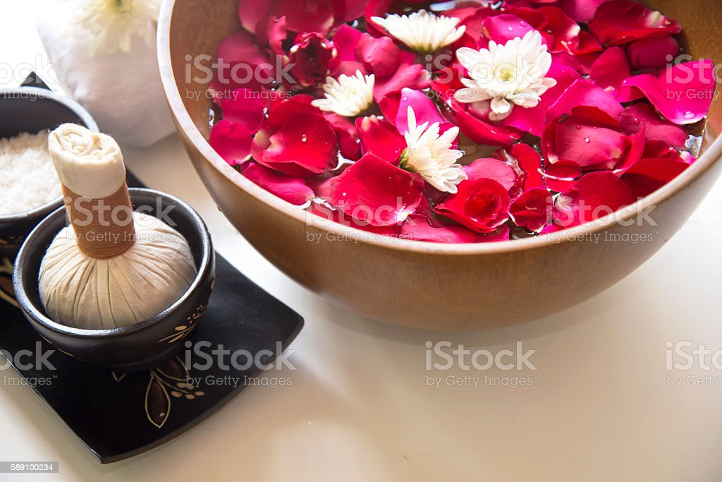 Spa treatment and product for female feet spa stock photo