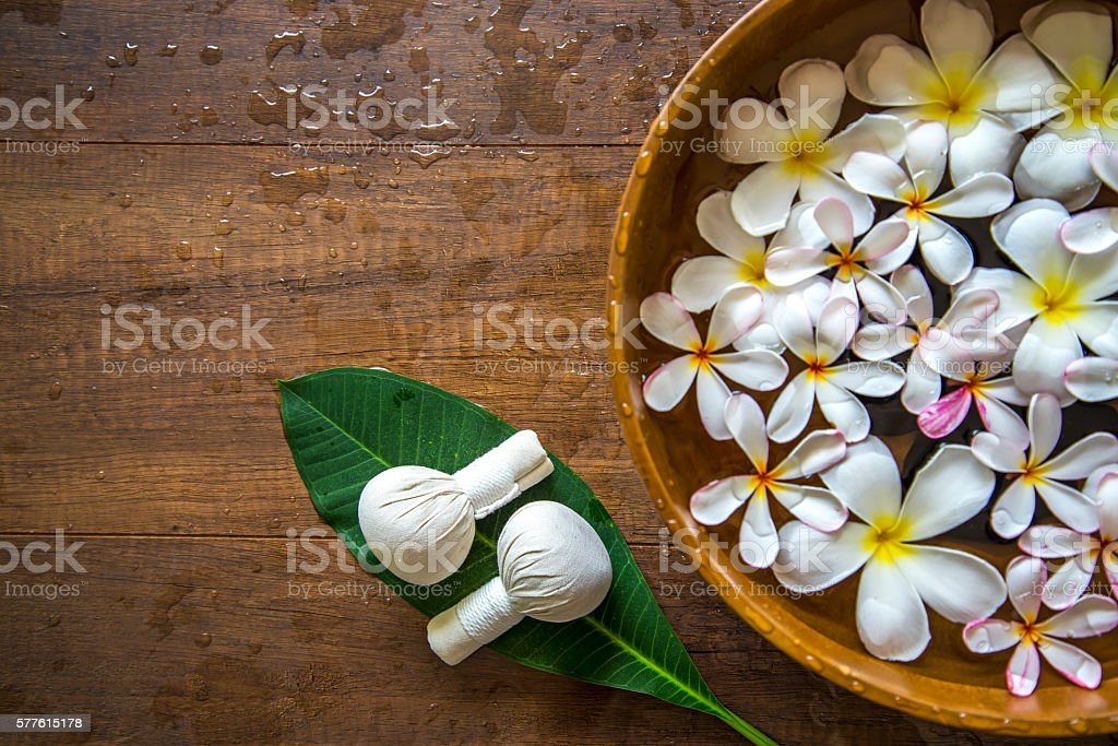 Spa treatment and product for female feet spa, Thailand. select focus stock photo