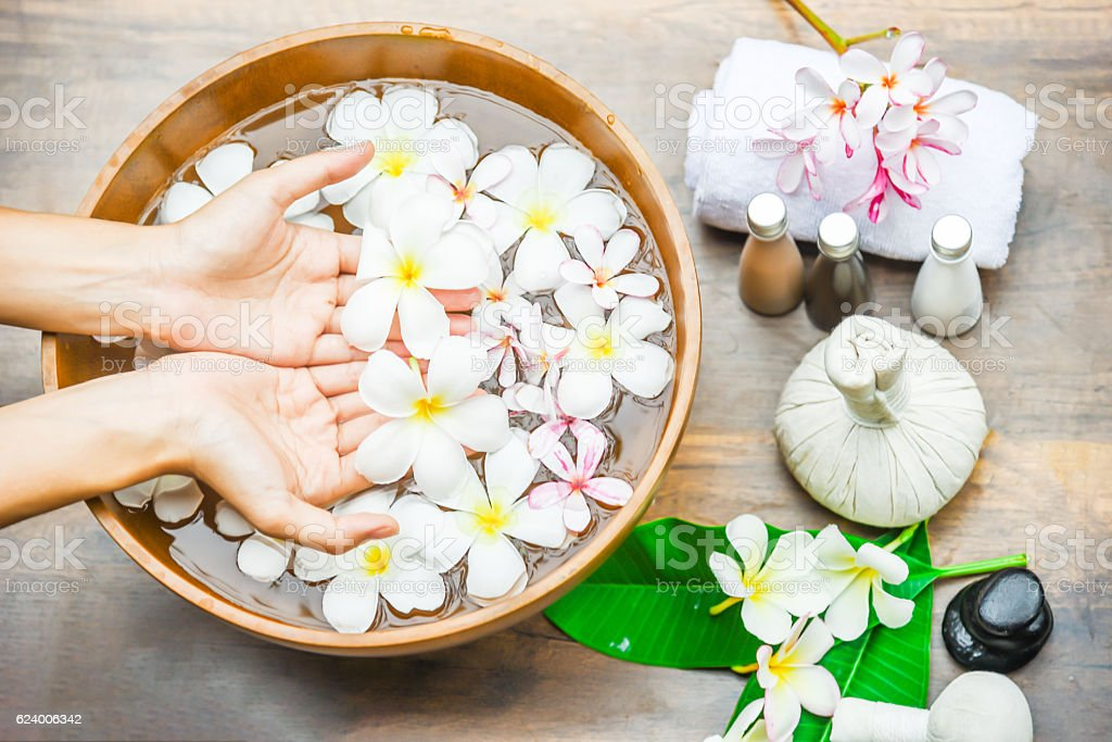 Spa treatment and product for hand spa . stock photo