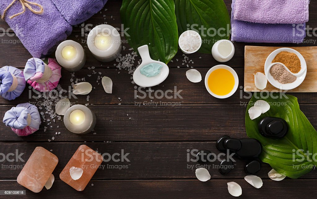 Spa treatment, aromatherapy background. Details and accessories stock photo