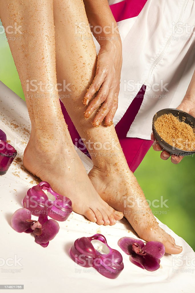 Spa Treatment:  Depilation with Sugar on Legs royalty-free stock photo