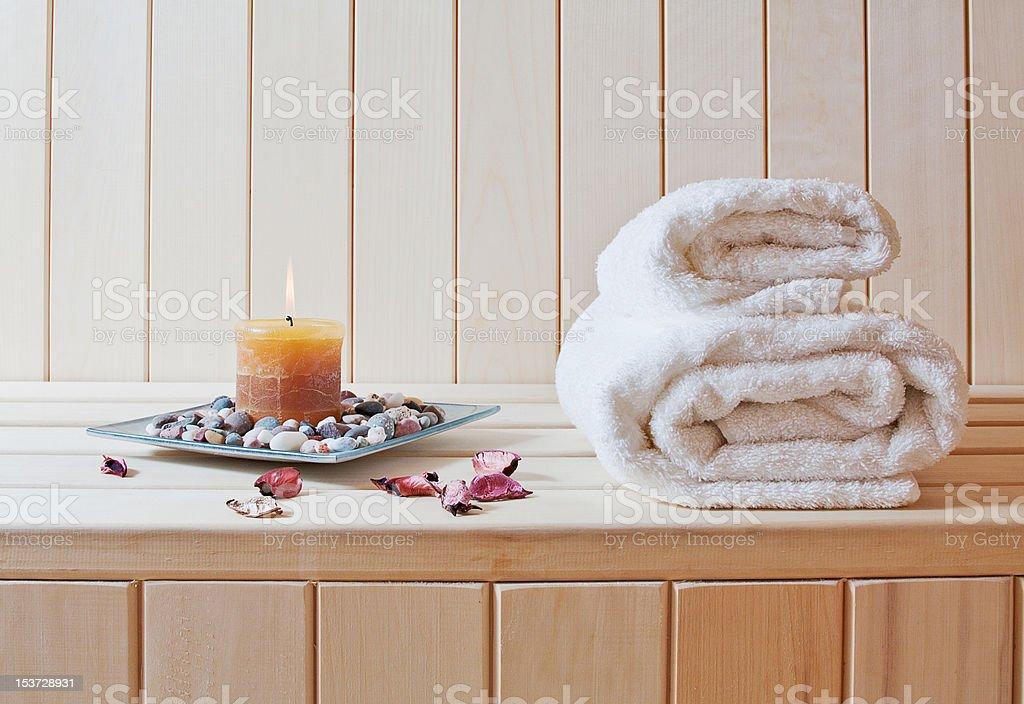 Spa-Behandlung-Finnische sauna Lizenzfreies stock-foto