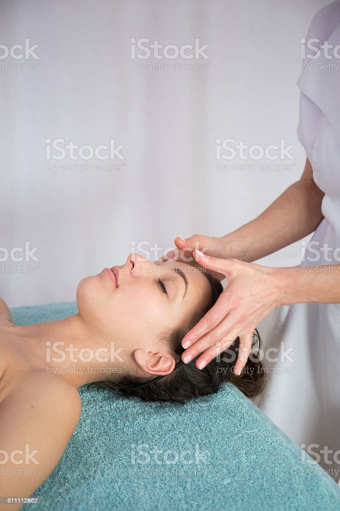 Spa Treatment, Massaging, Wellbeing at spa center stock photo
