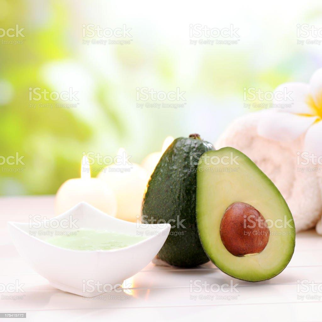 Spa Treatment with avacado cream stock photo