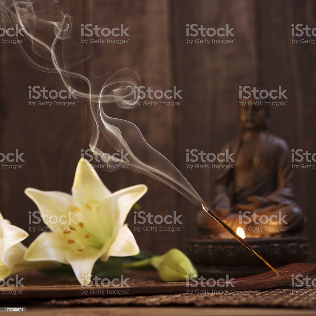 Spa Treatment with meditation scene royalty-free stock photo