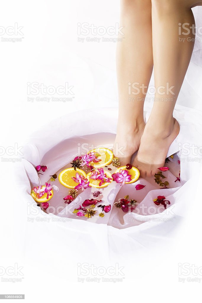 Spa with flower and orange royalty-free stock photo