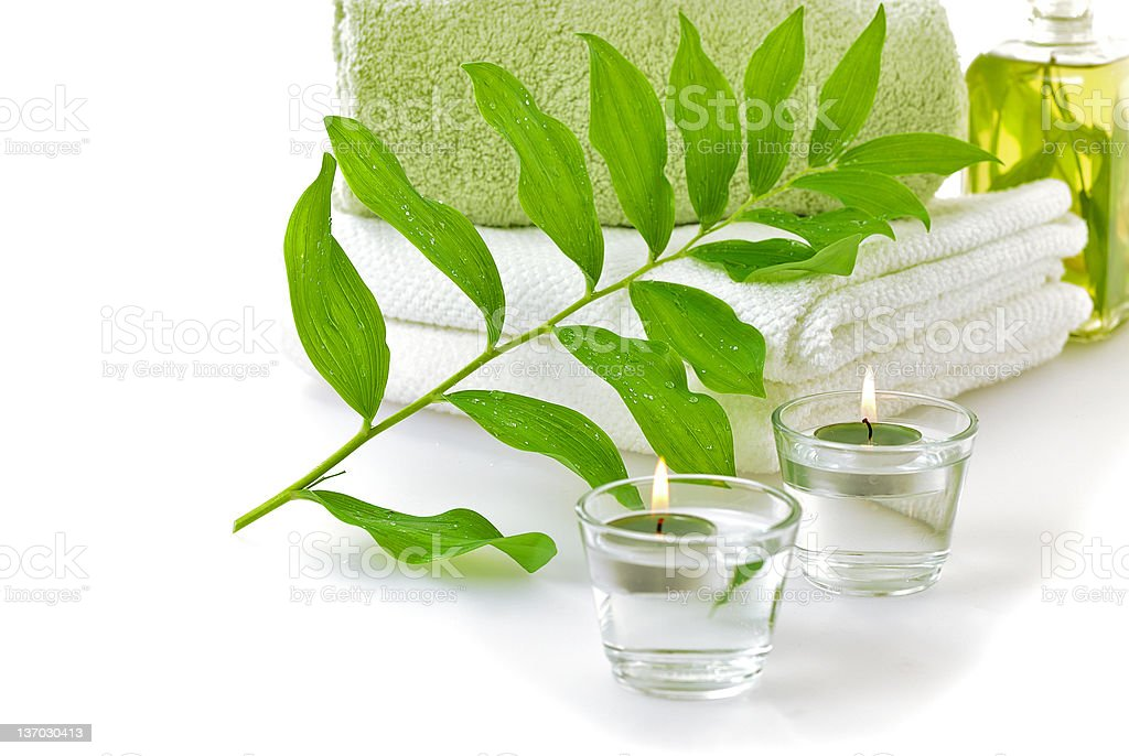 spa with green leaf royalty-free stock photo