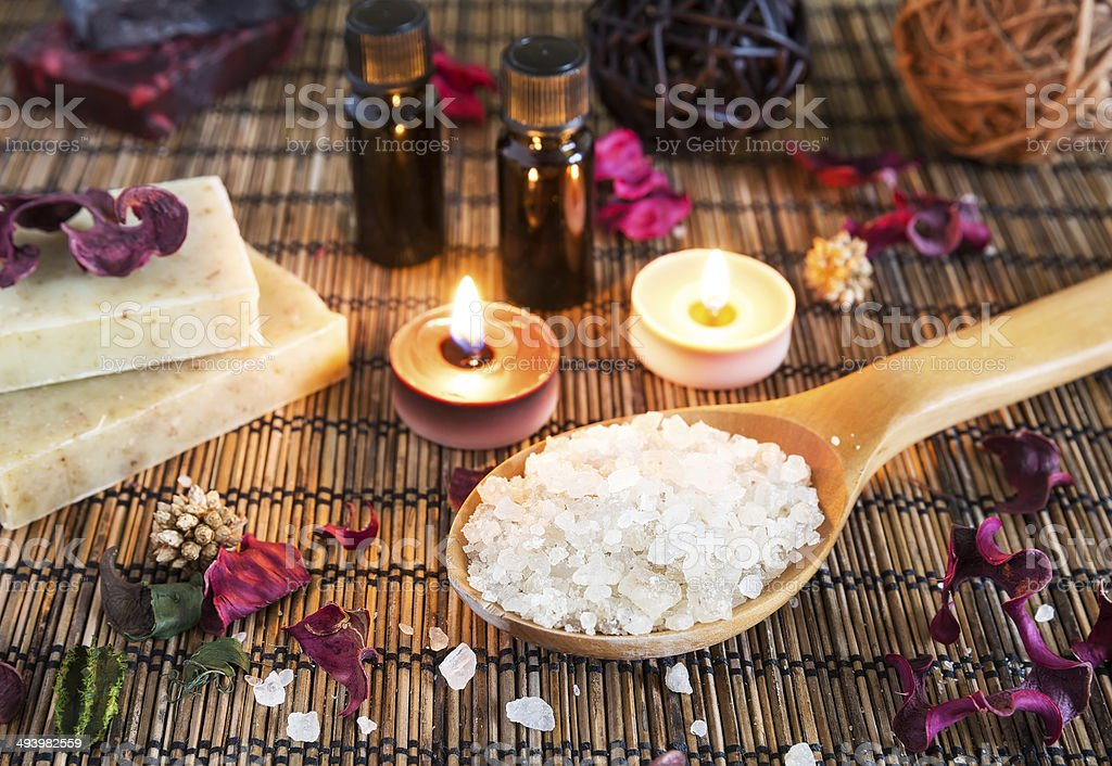Spa with natural bath salt stock photo