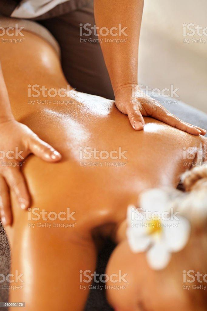 Spa Woman Back Massage. Beauty Treatment. Body, Skin Care Therapy stock photo