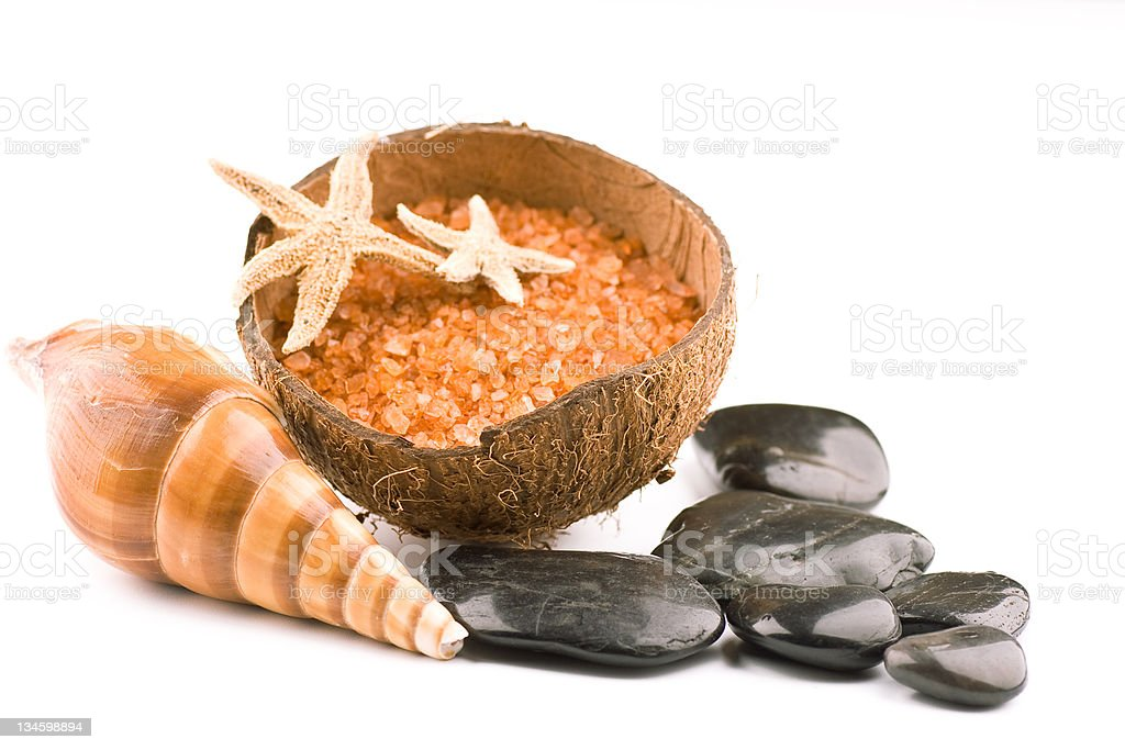 Spa zen stones with shell and starfishes stock photo