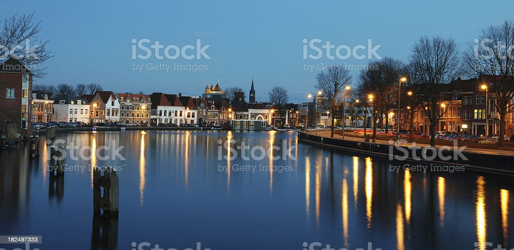 Spaarne river in Haarlem during the blue hour stock photo