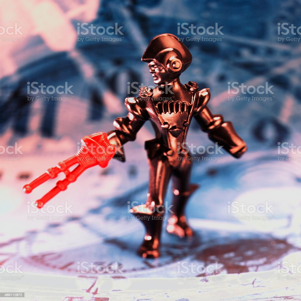 Space Alien With Red Gun stock photo