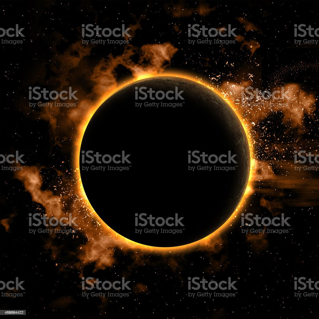 Space background with eclipsed planet stock photo
