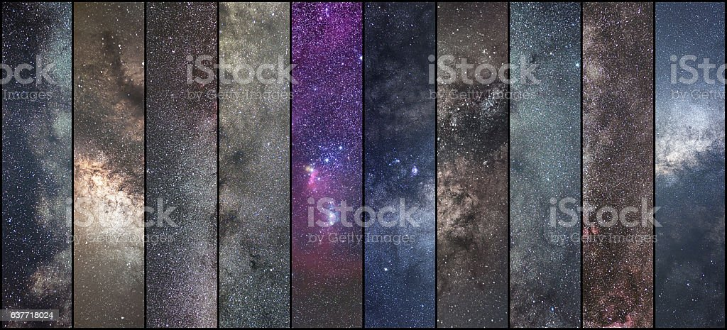 Space collage. Astronomy collage. Astrophotography collage. universe. Long exposure photography. stock photo