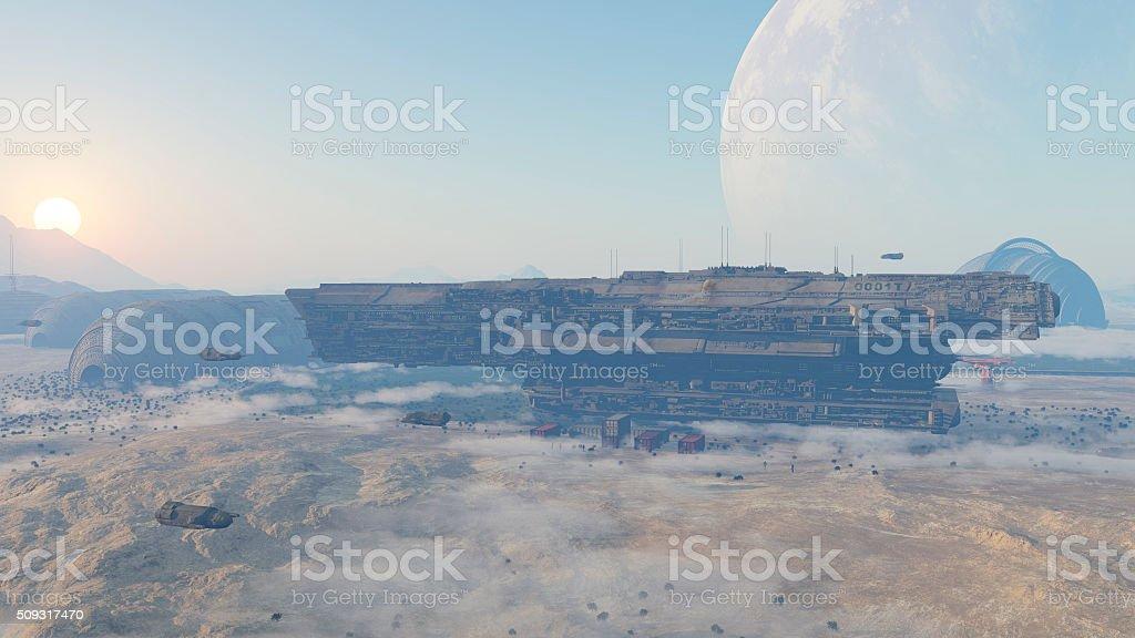 space colony stock photo