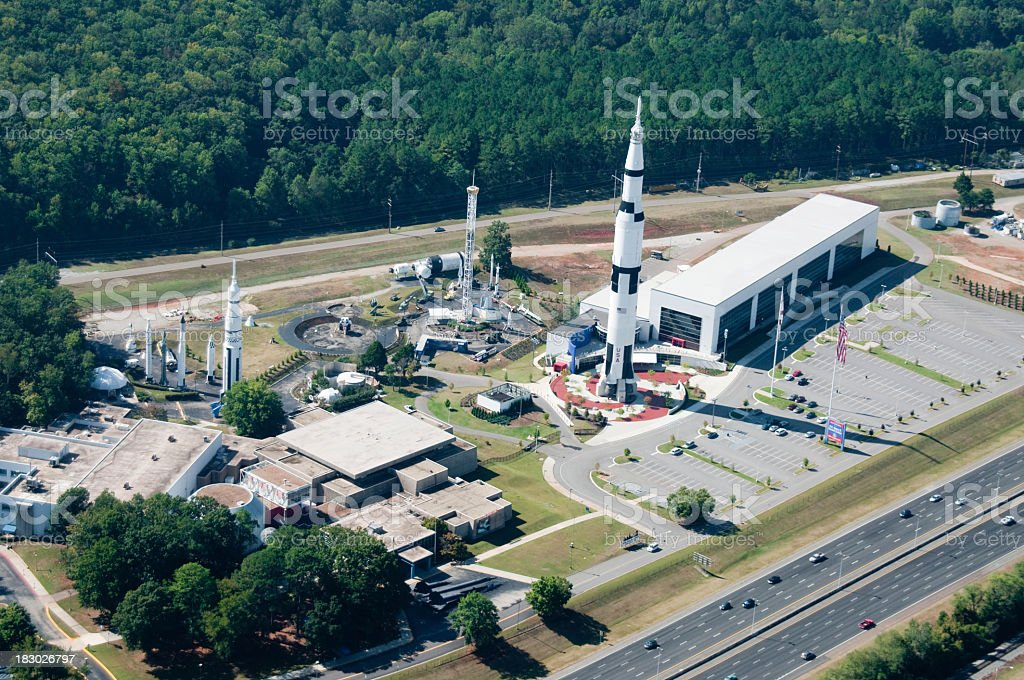 Space complex showcasing Saturn V rocket stock photo