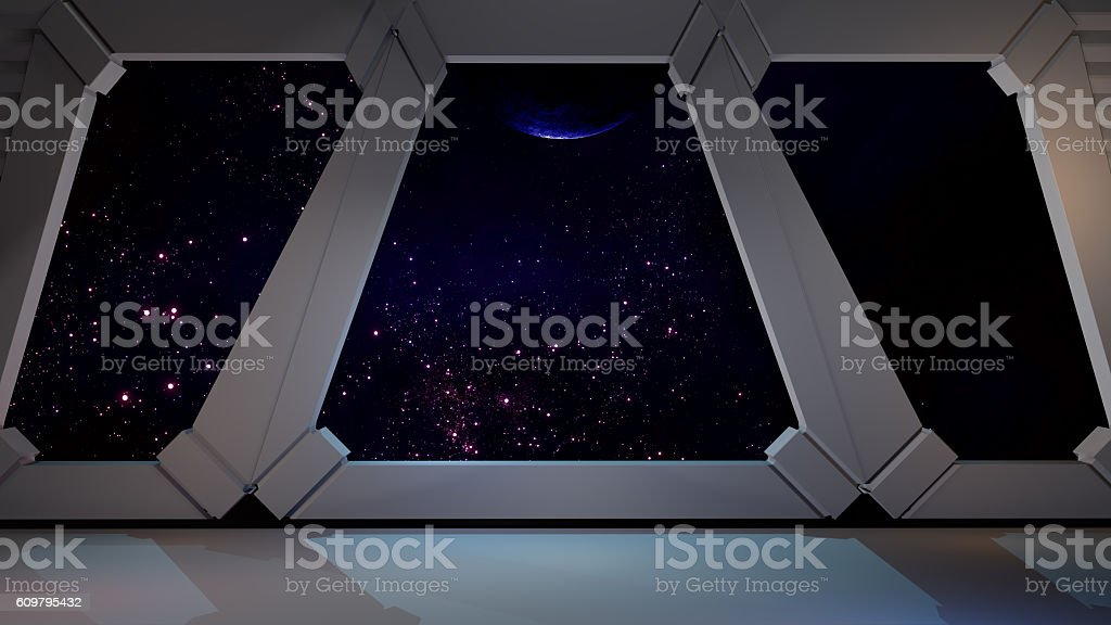 Space environment, ready for comp of your characters.3D rendering stock photo