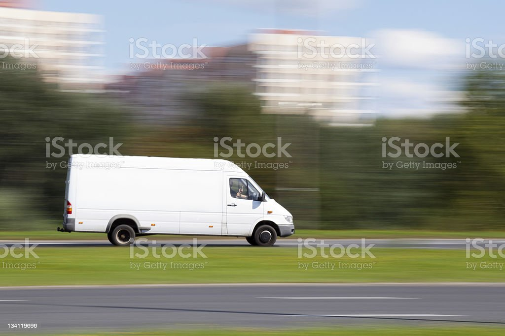 Space for advertisement on delivery truck stock photo