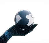 Space hand with globe