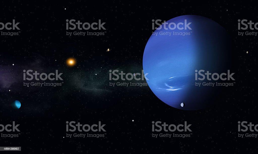 Space Journey to Neptune stock photo