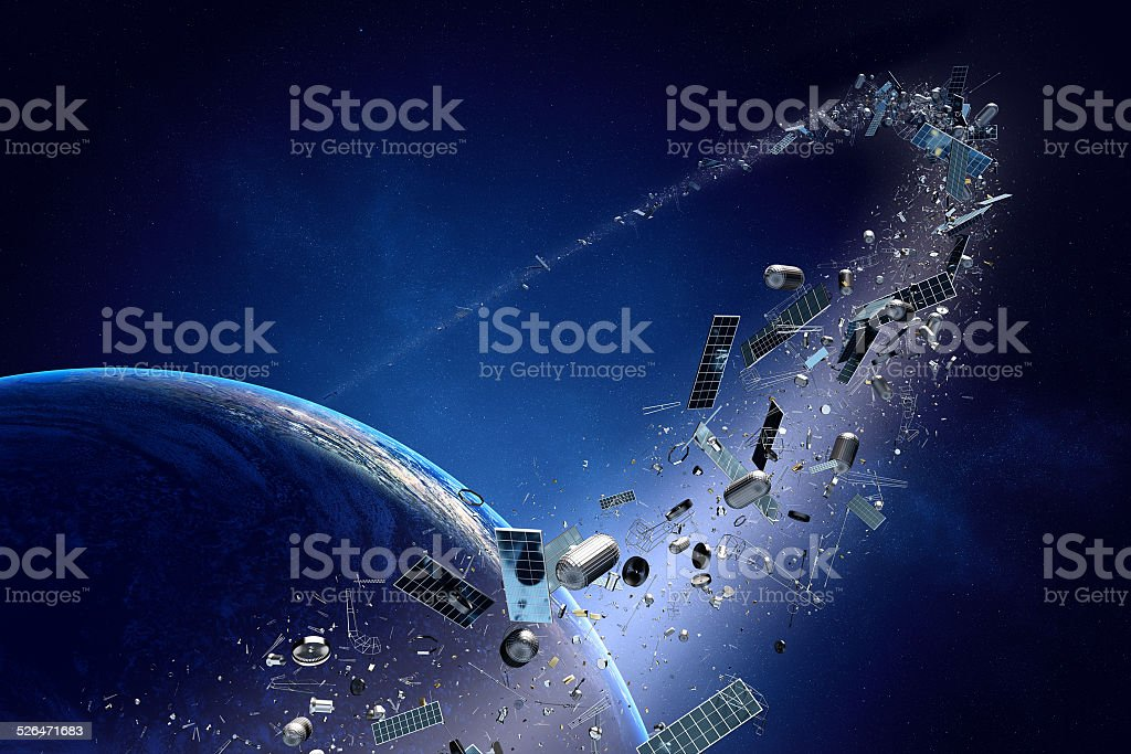 Space junk (pollution) orbiting earth stock photo