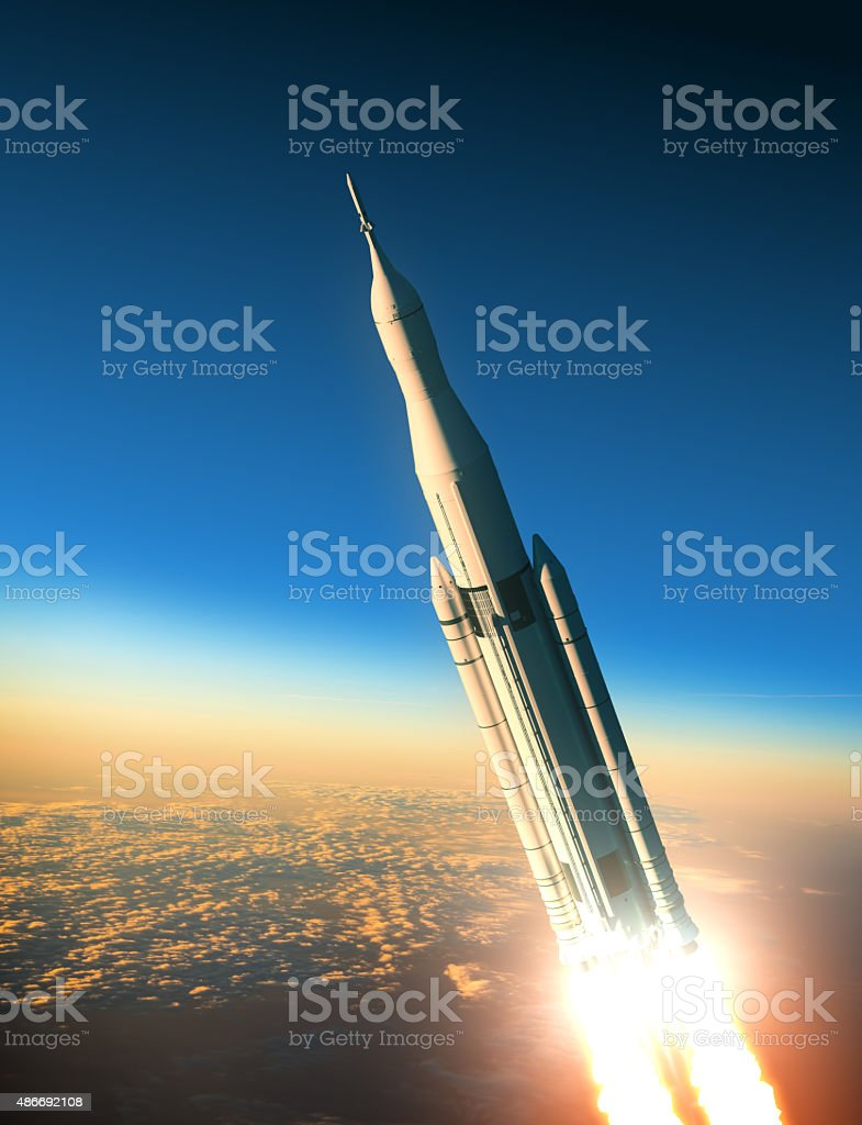 Space Launch System Launching stock photo