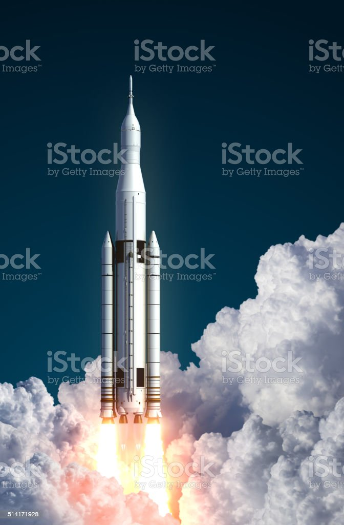 Space Launch System Takes Off In The Clouds stock photo