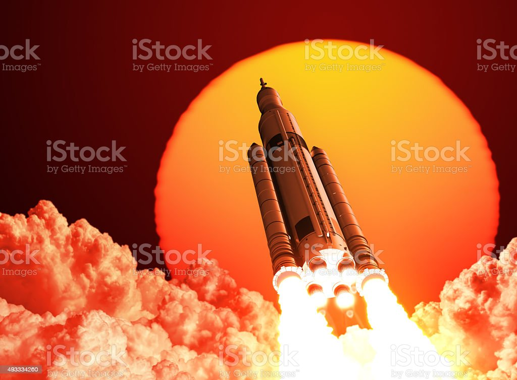 Space Launch System Takes Off On The Background Of Sunrise stock photo