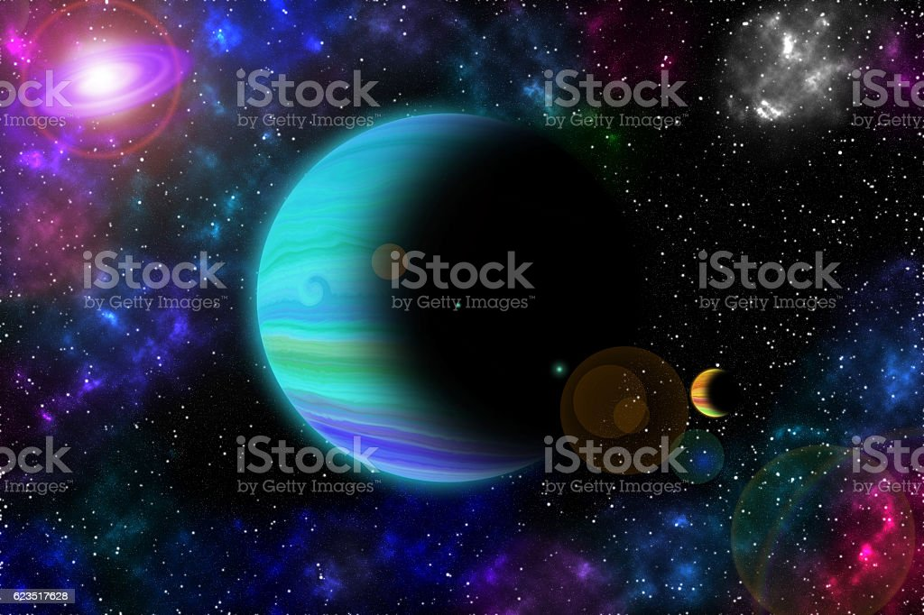 Space, light and interstellar star and nebulae Concept. vector art illustration