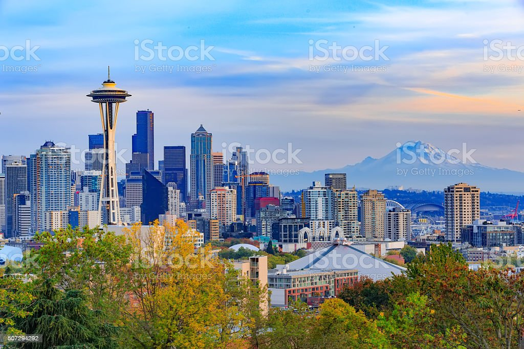 Space Needle and Seattle downtown stock photo