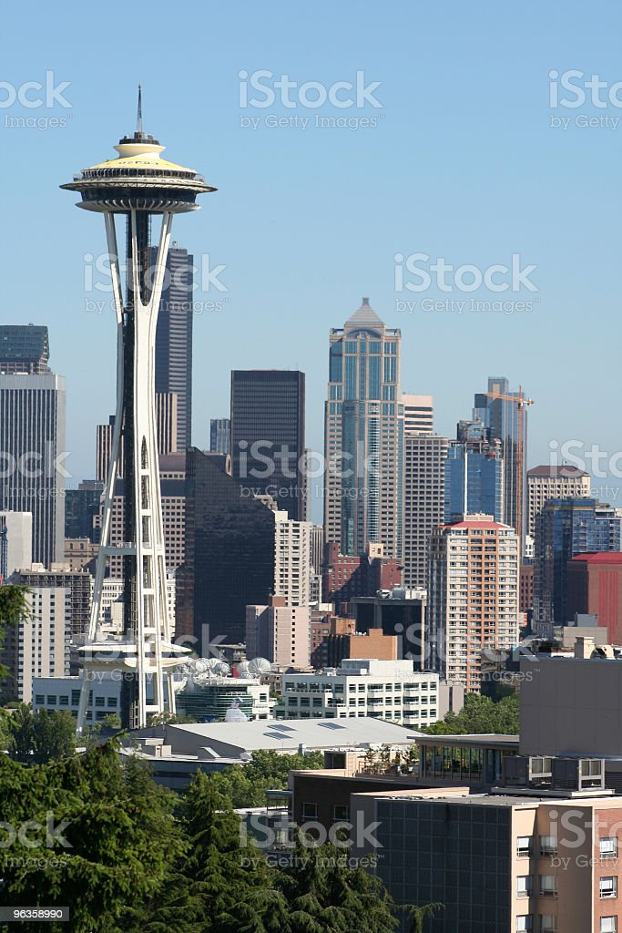 space needle and Seattle skyline stock photo