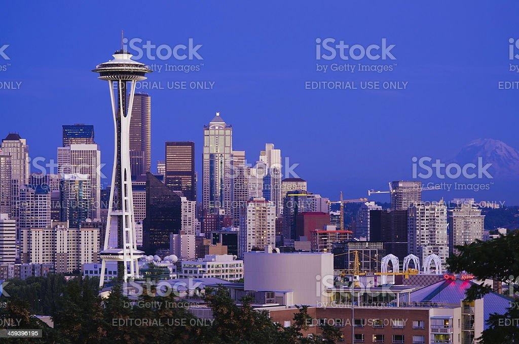 Space Needle at night in Seattle, WA stock photo