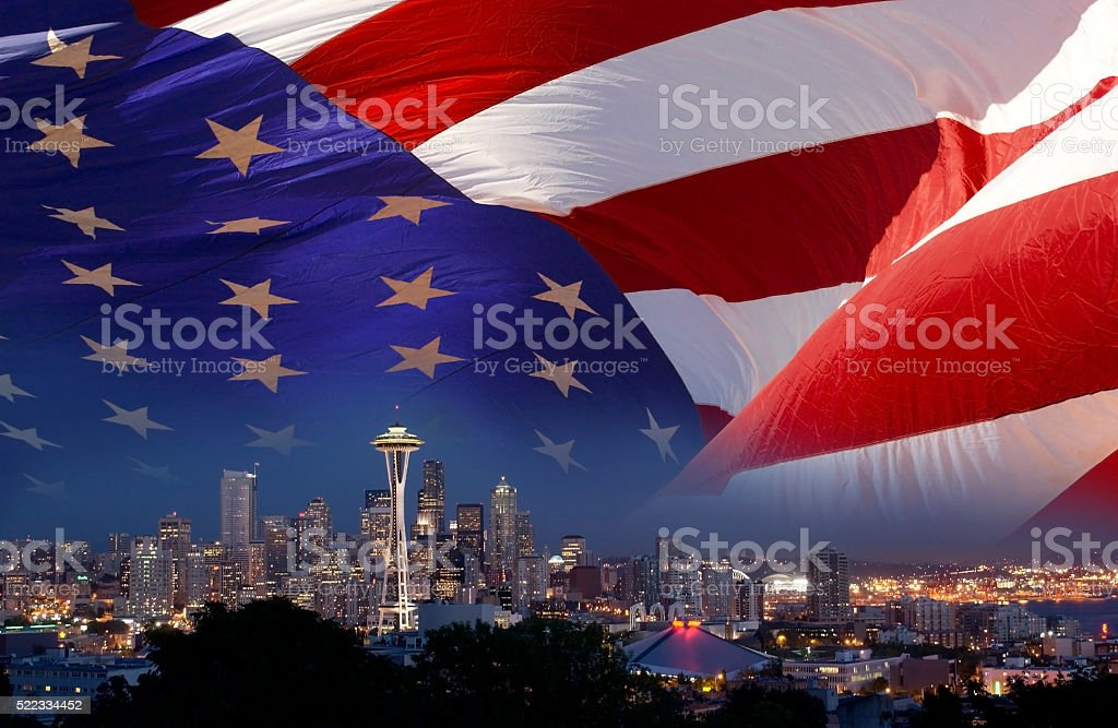 Space Needle in Seattle in the USA stock photo