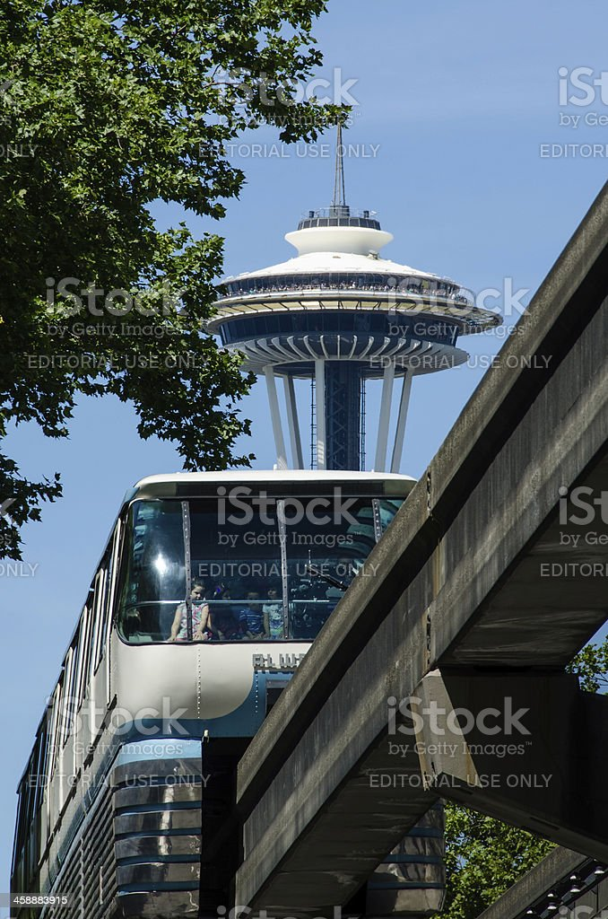 Space Needle towers over the Seattle Monorail stock photo