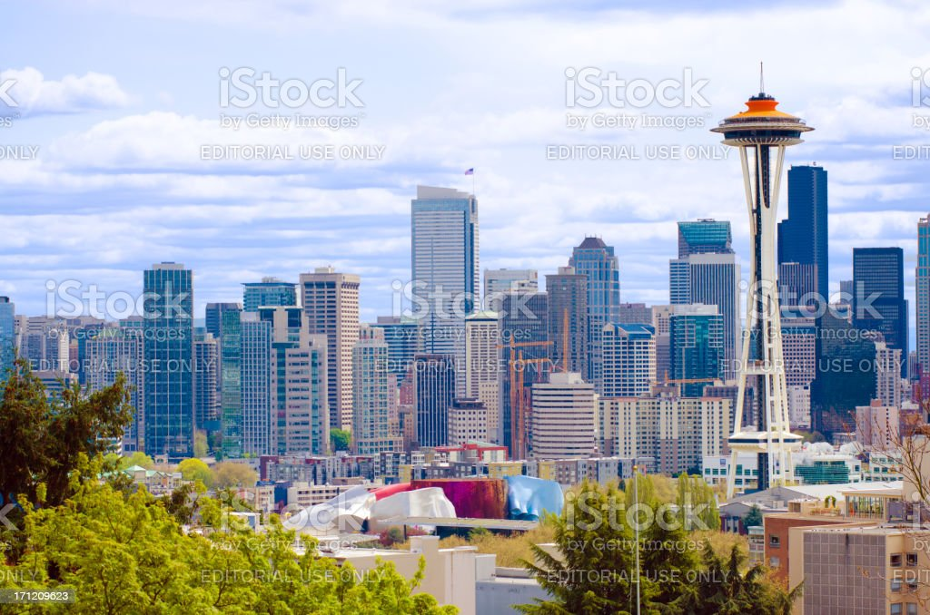 Space Needle with Galaxy Gold paint and downtown Seattle stock photo