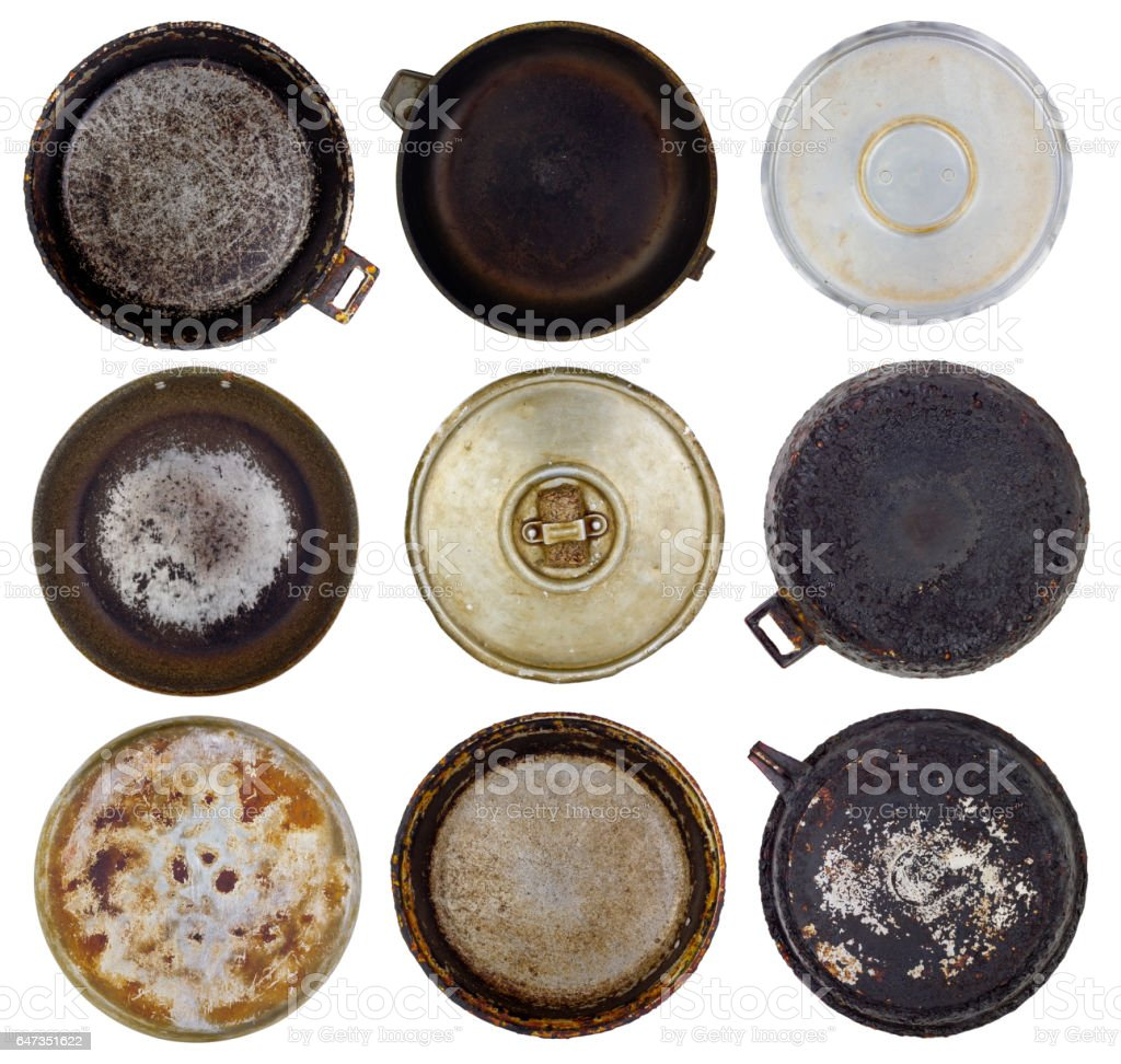 Space planets from the old kitchen burned-down frying pans set. Isolated abstract collage stock photo