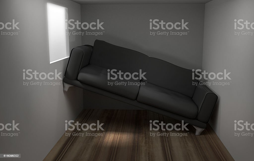 Space problems in the small living room 3d render stock photo