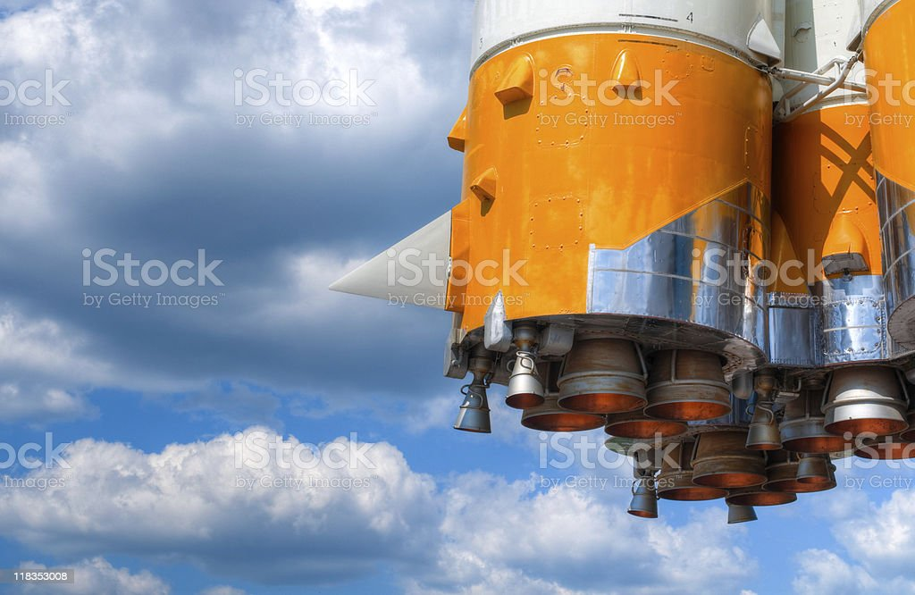 space rocket engine stock photo