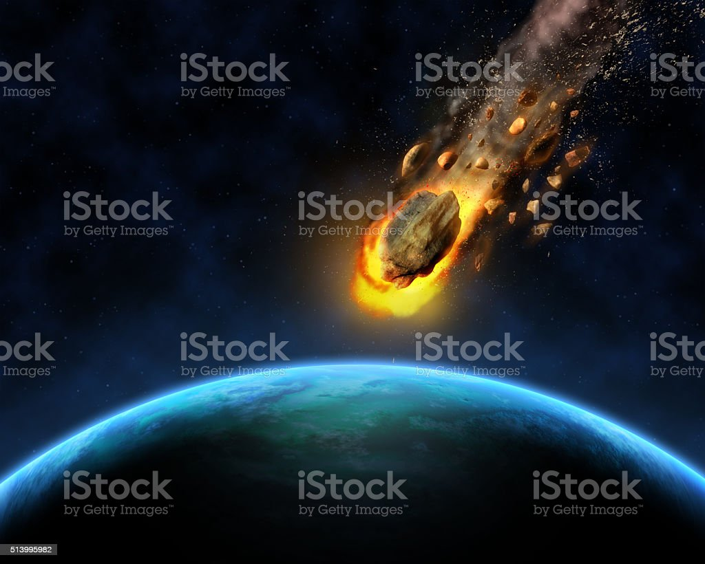 3D space scene background with rocks hurtling towards a fictiona stock photo