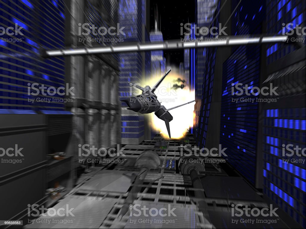 space ship city race stock photo