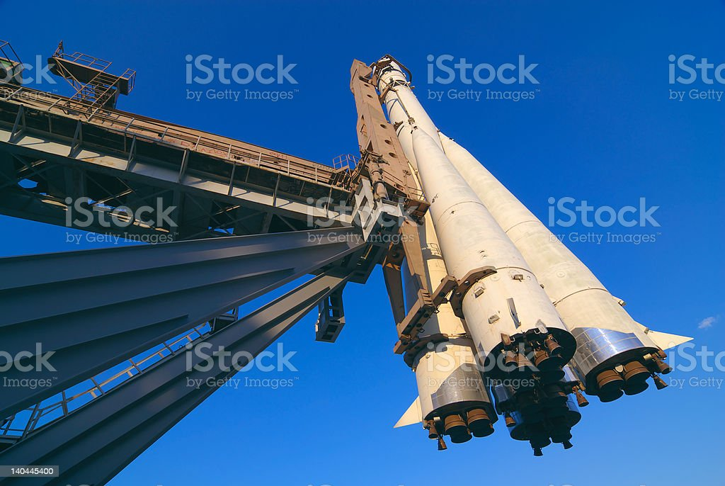Space ship on a launch pad stock photo