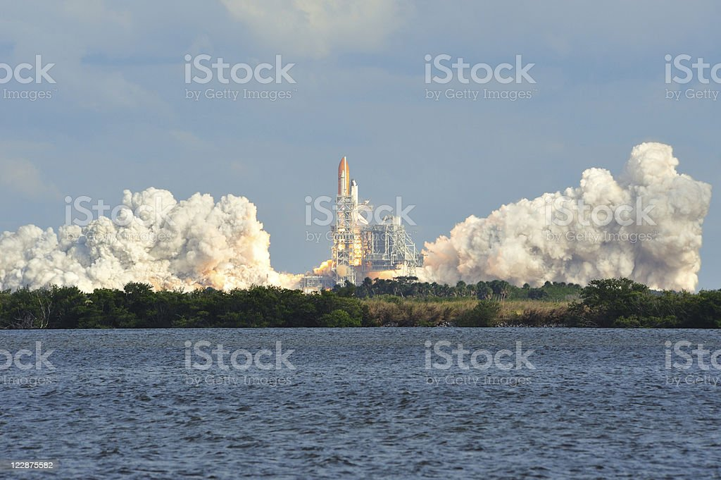 Space Shuttle Atlantis launches stock photo