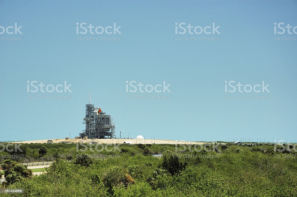 Space Shuttle Atlantis on Launch Pad at Cape Canaveral Florida stock photo