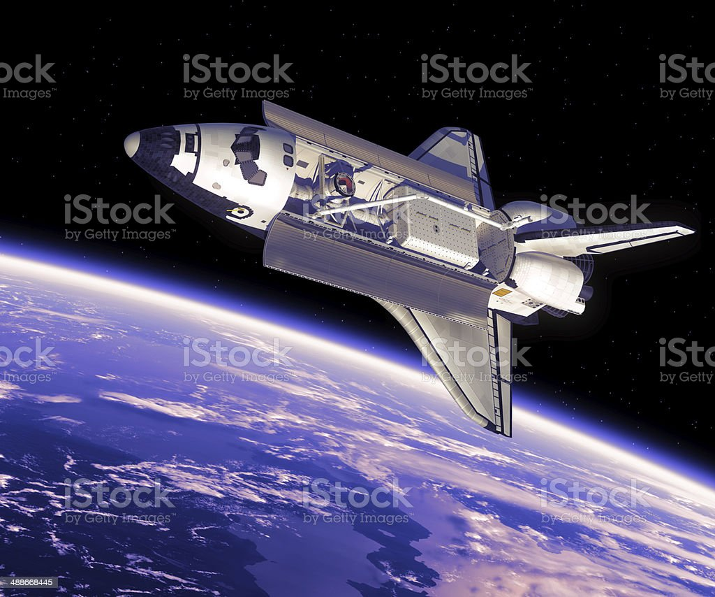 Space Shuttle in Space. stock photo