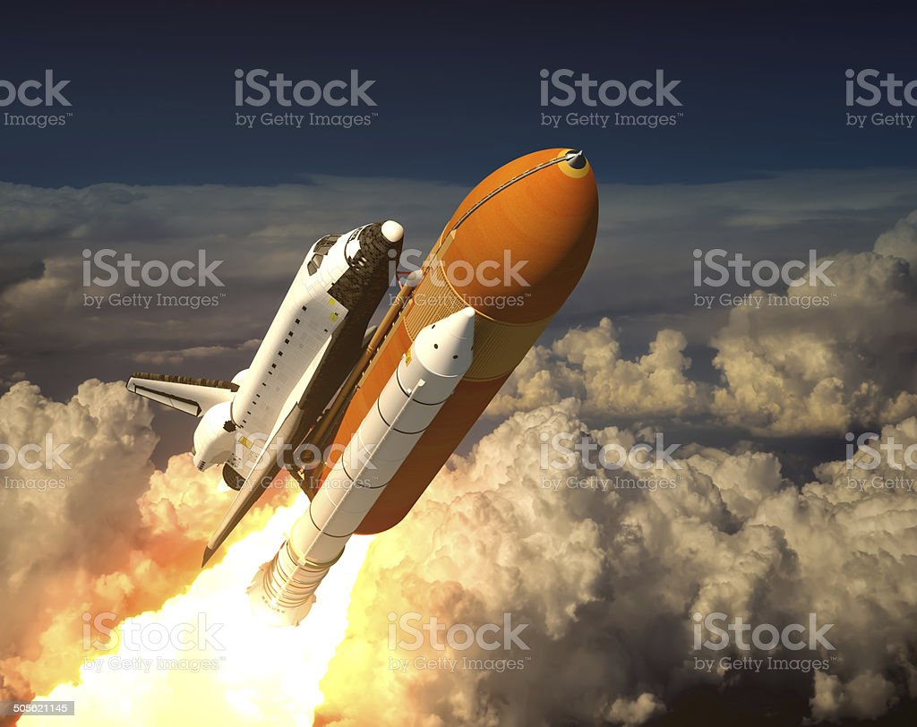 Space Shuttle In The Clouds stock photo