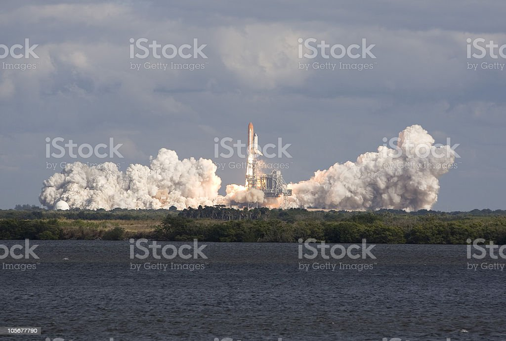 NASA STS-129 Space Shuttle launch stock photo